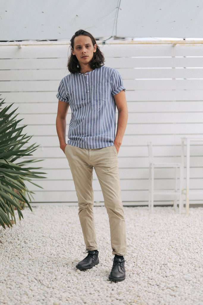 striped indigo popover men's - full