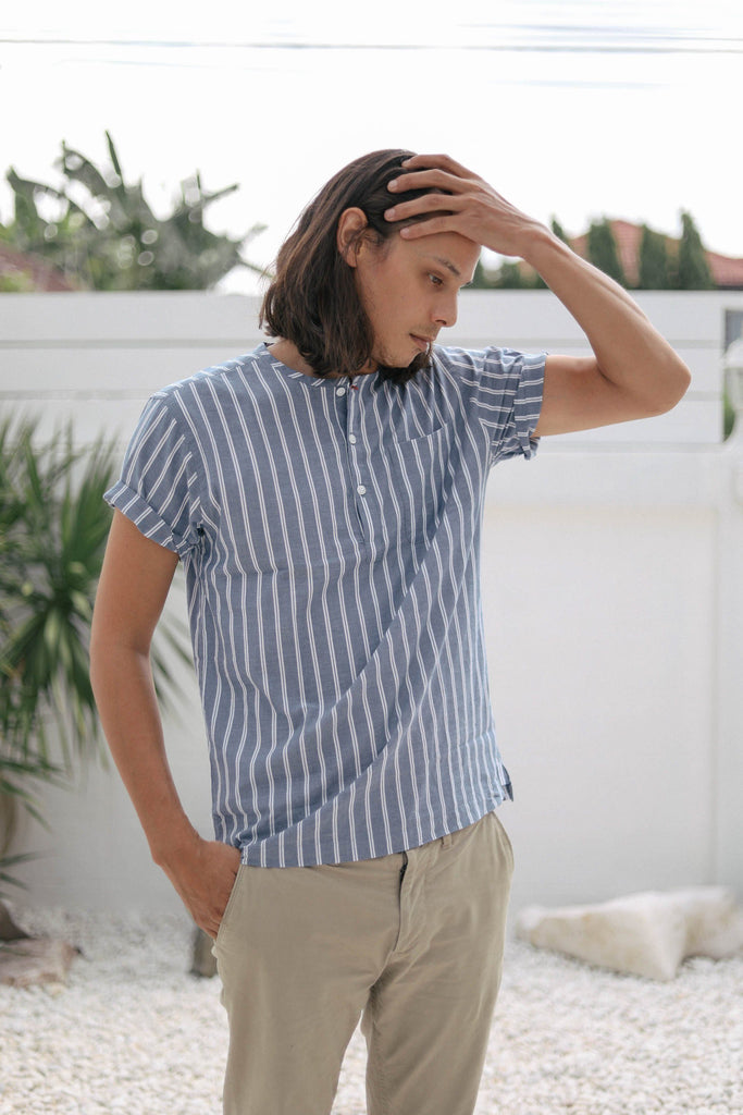 striped indigo popover men's - three quarters