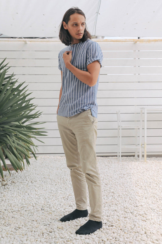 striped indigo popover men's - side full