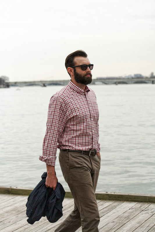 White red check brushed twill shirt - Pullman - man walking by water