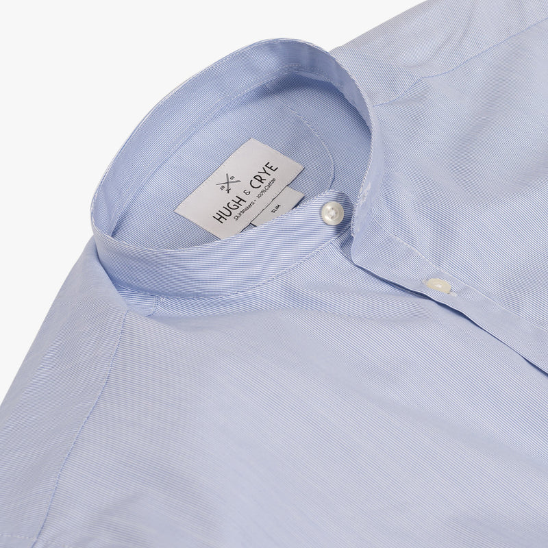 Band Collar popover in blue and white pencil stripe poplin - Julius - Detail