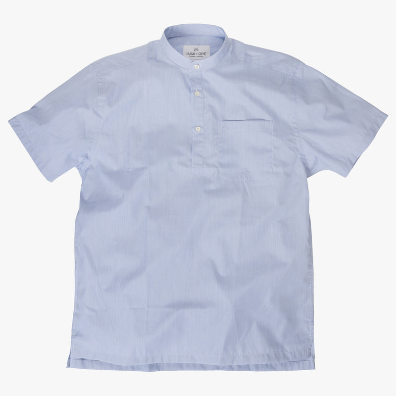 Band Collar popover in blue and white pencil stripe poplin - Julius - Splay