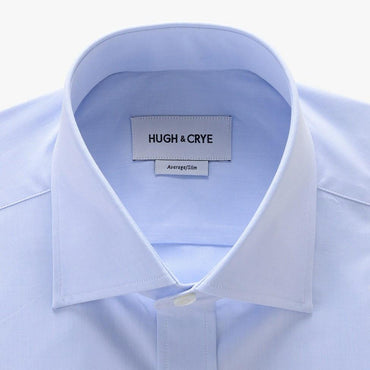 tall spread collar shirt in blue solid 120s poplin - kent - detail
