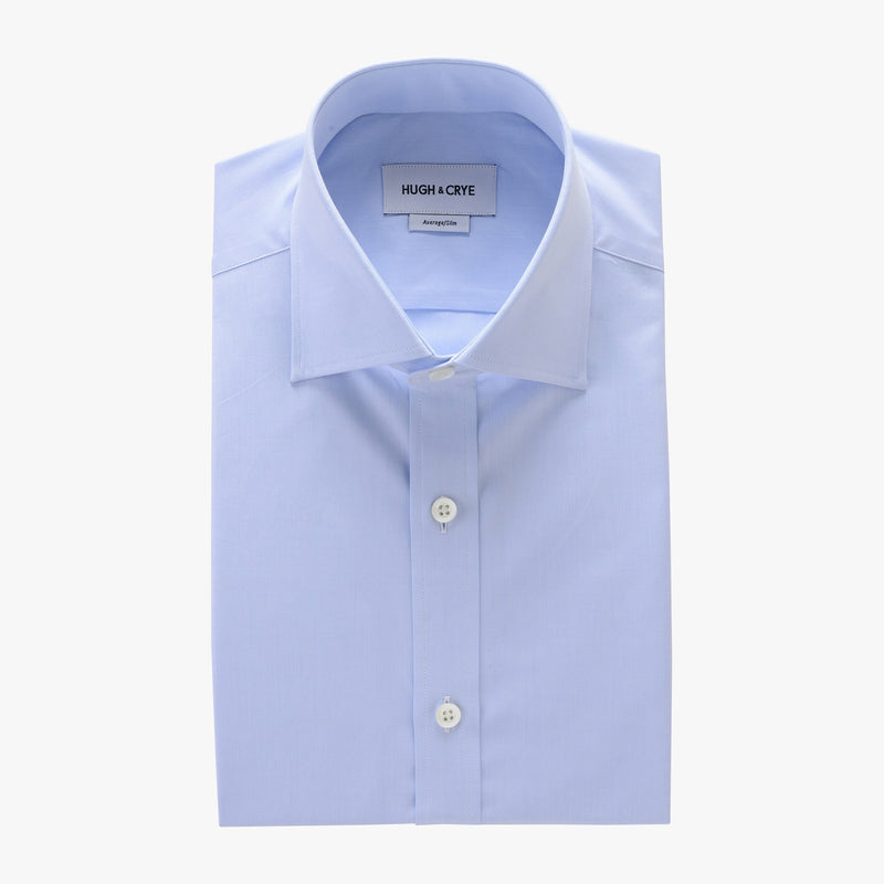 tall spread collar shirt in blue solid 120s poplin - kent - flat