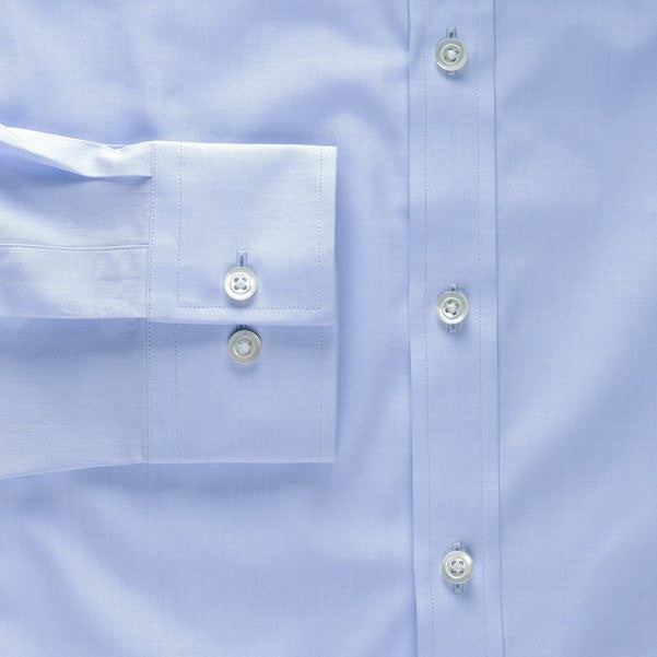 barrel cuff shirt in blue solid 120s poplin - kent - detail