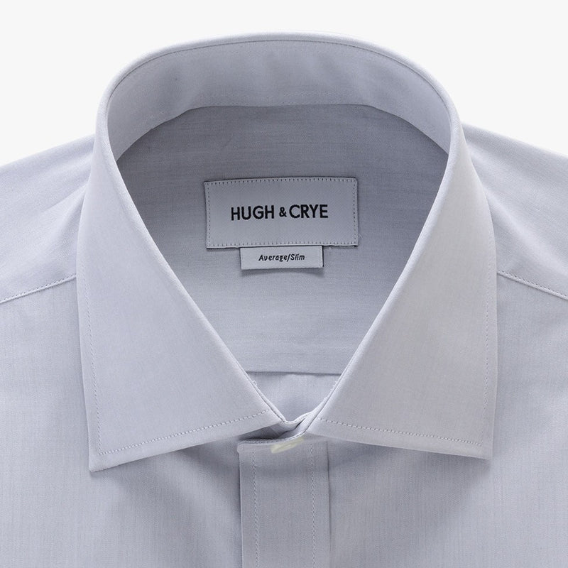 tall spread collar shirt in grey solid 120s poplin - kent - detail