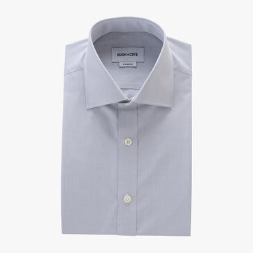 tall spread collar shirt in grey solid 120s poplin - kent - flat