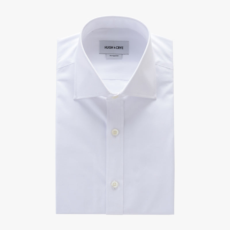 tall spread collar shirt in white solid 120s poplin - kent - flat