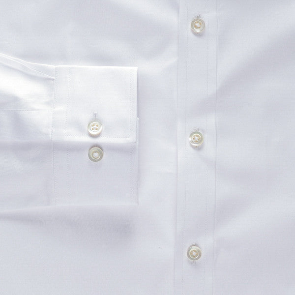 tall spread collar shirt in white solid 120s poplin - kent - cuff detail