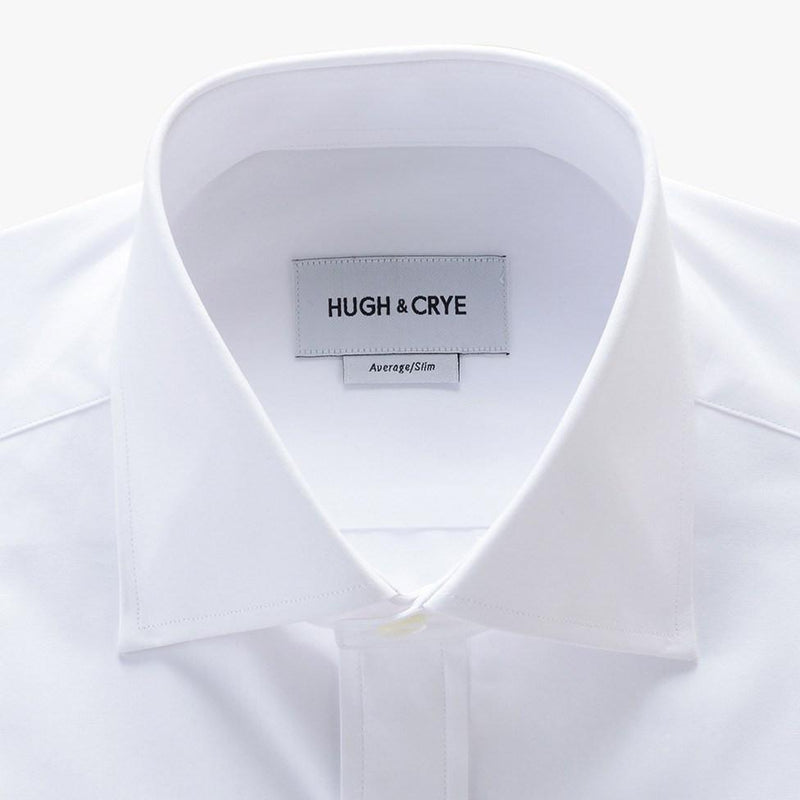 tall spread collar shirt in white solid 120s poplin - kent - detail