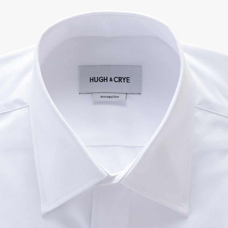 tall point collar shirt in white solid 120s poplin - logan - detail