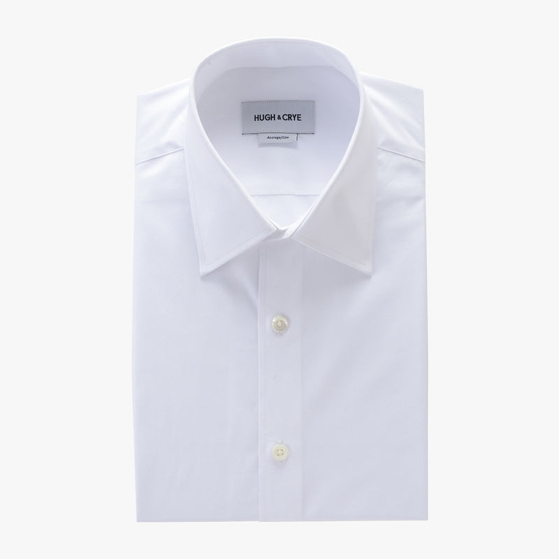 tall point collar shirt in white solid 120s poplin - logan - flat