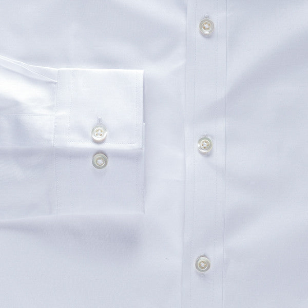 barrel convertible cuff shirt in white solid 120s poplin - logan - detail
