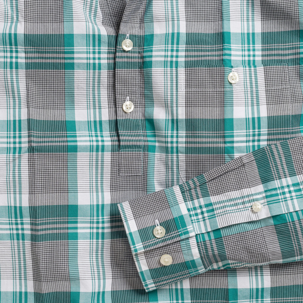 Button-down popover with green stripe and check madras - Lee - Detail