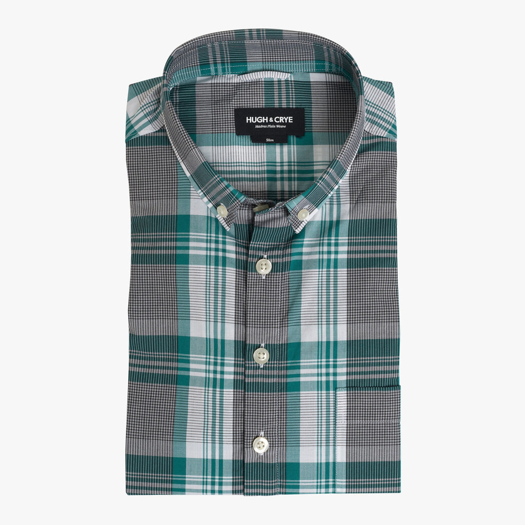 Button-down popover with green stripe and check madras - Lee - Flat