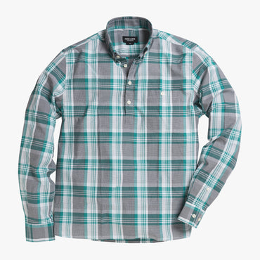 Button-down popover with green stripe and check madras - Lee - Splay