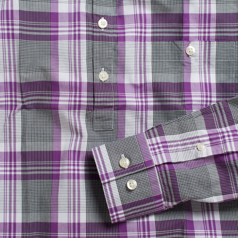 Button-down popover with purple stripe and check madras - Lee - Detail