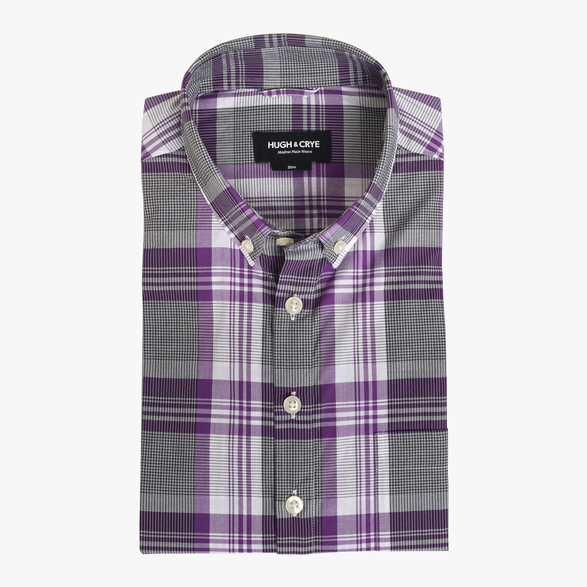0505e60872 button-down popover anatomy Button-down popover with purple stripe and  check madras - Lee - Flat ...