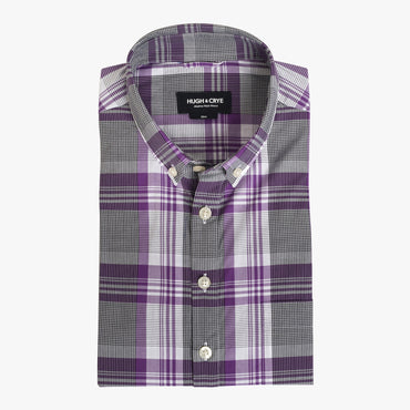 Button-down popover with purple stripe and check madras - Lee - Flat