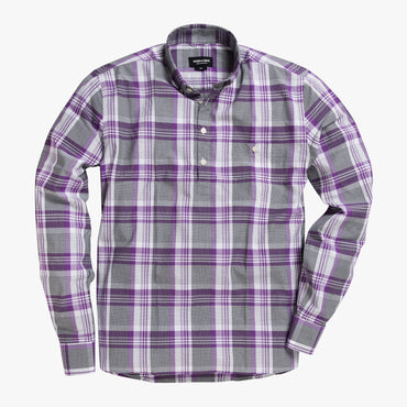 Button-down popover with purple stripe and check madras - Lee - Splay