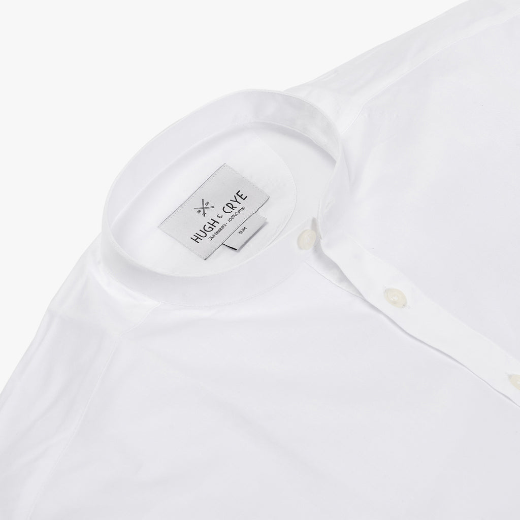 Band Collar popover in white twill - Lynd - Detail