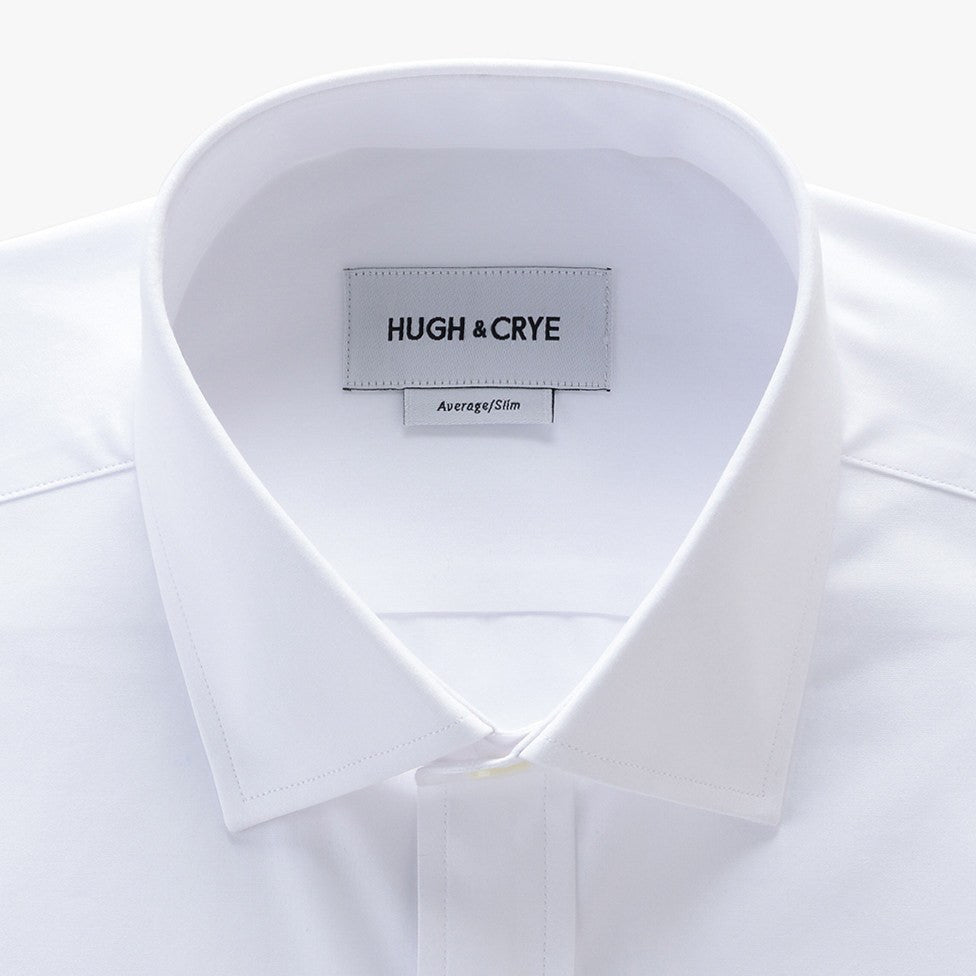 small spread collar shirt in white solid 120s poplin - mayfair - detail