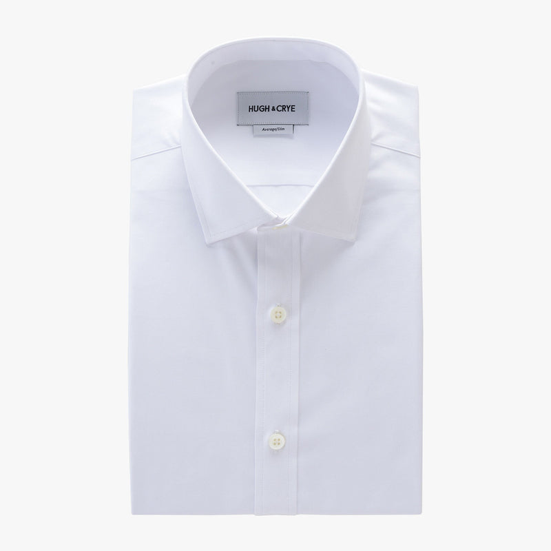 small spread collar shirt in white solid 120s poplin - mayfair - flat