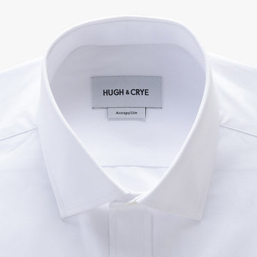 small spread collar shirt in white solid 120s poplin - mayfair with pocket - detail