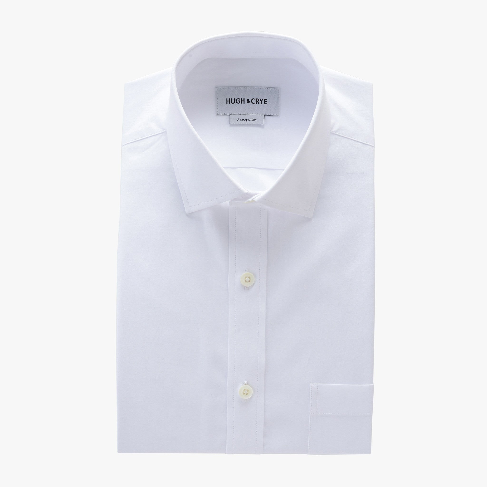 small spread collar shirt in white solid 120s poplin - mayfair with pocket - flat