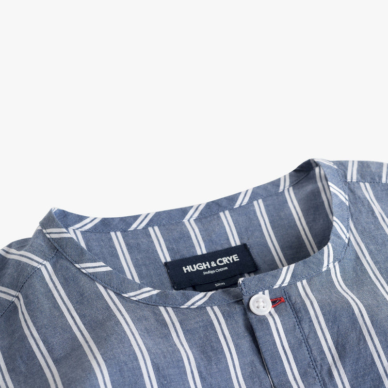 Collarless popover with indigo blue with double white stripe - Monterosso - Details