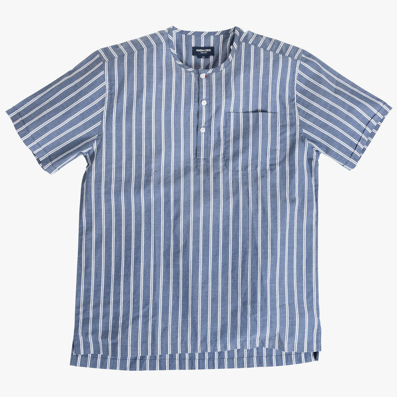 Collarless popover with indigo blue with double white stripe - Monterosso - Splay