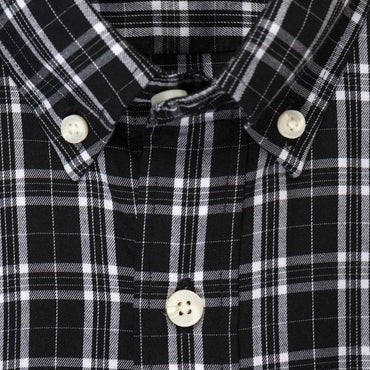 Black white check brushed twill shirt collar