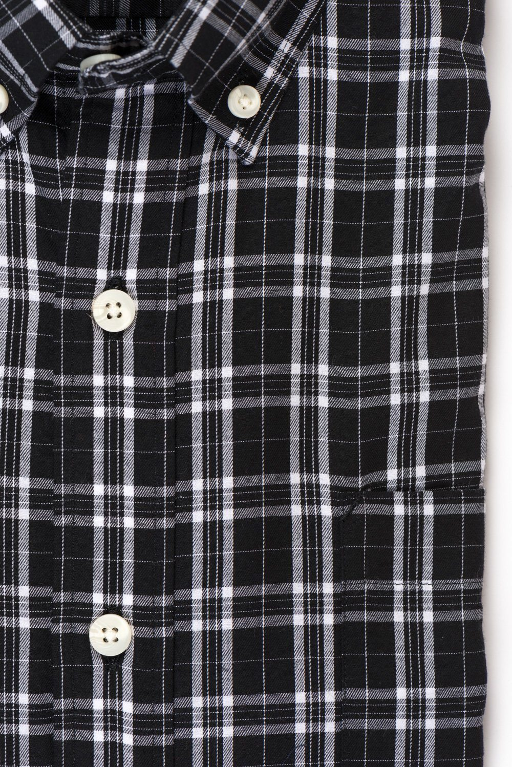 Black white check brushed twill shirt fabric