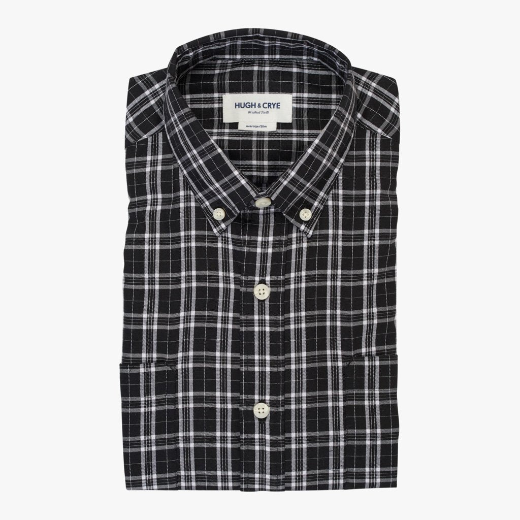 Black white check brushed twill button down shirt ogden for Brushed cotton twill shirt