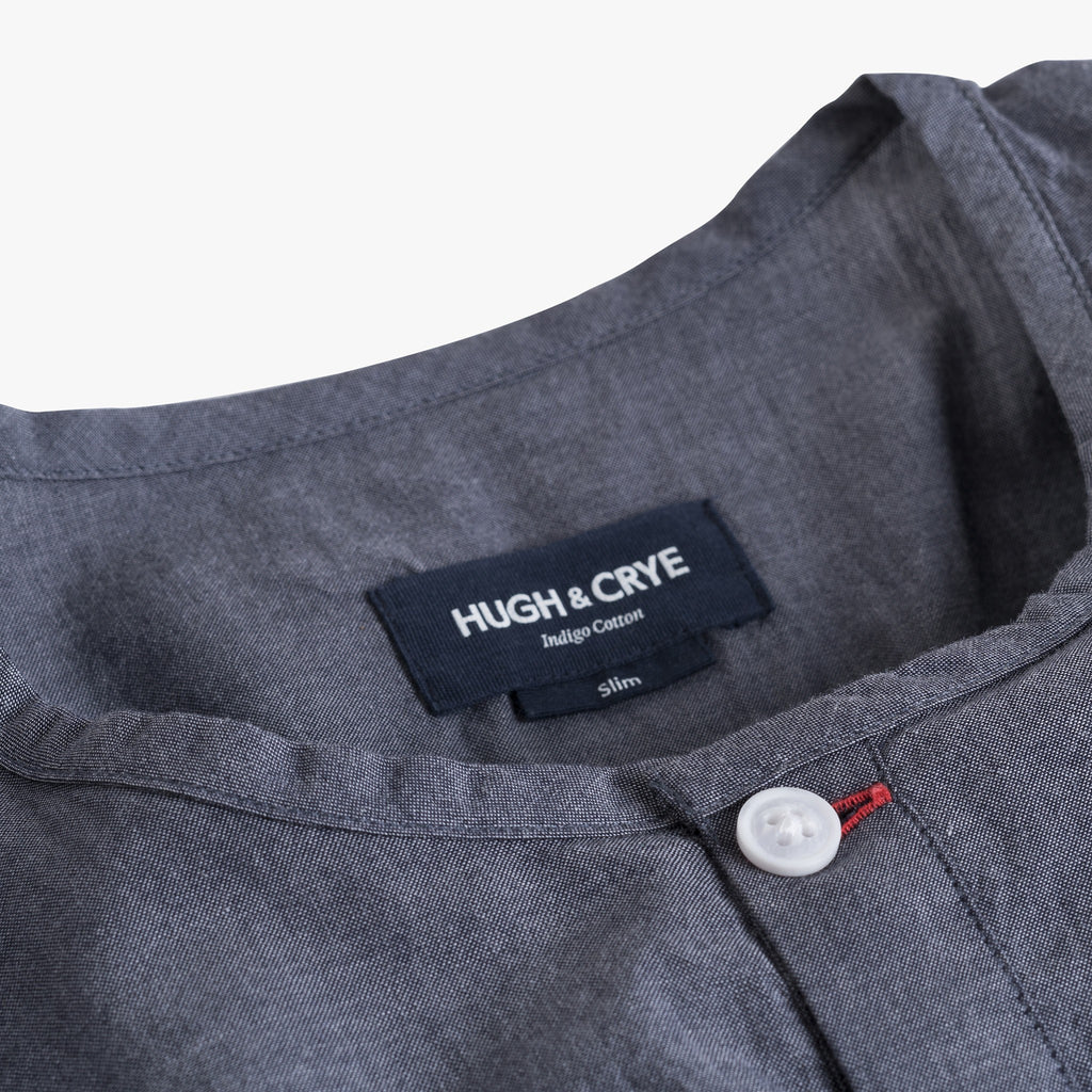 Collarless popover with indigo blue - Pampelonne - Details