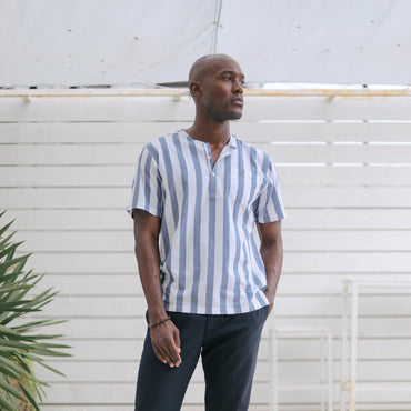 Light Weight - Short Sleeve Indigo blue and white banker stripe Popover Shirt - Summer Shirt - Tamariu