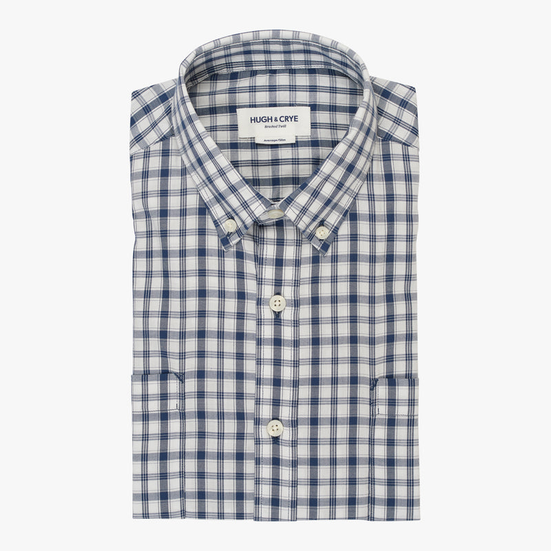 White blue check brushed twill shirt - Pullman