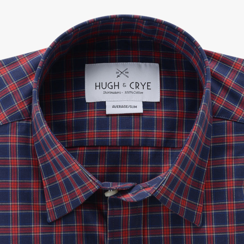 casual point collar shirt in blue, red plaid poplin - rushmore - collar detail
