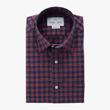 casual point collar shirt in blue, red plaid poplin - rushmore - flat