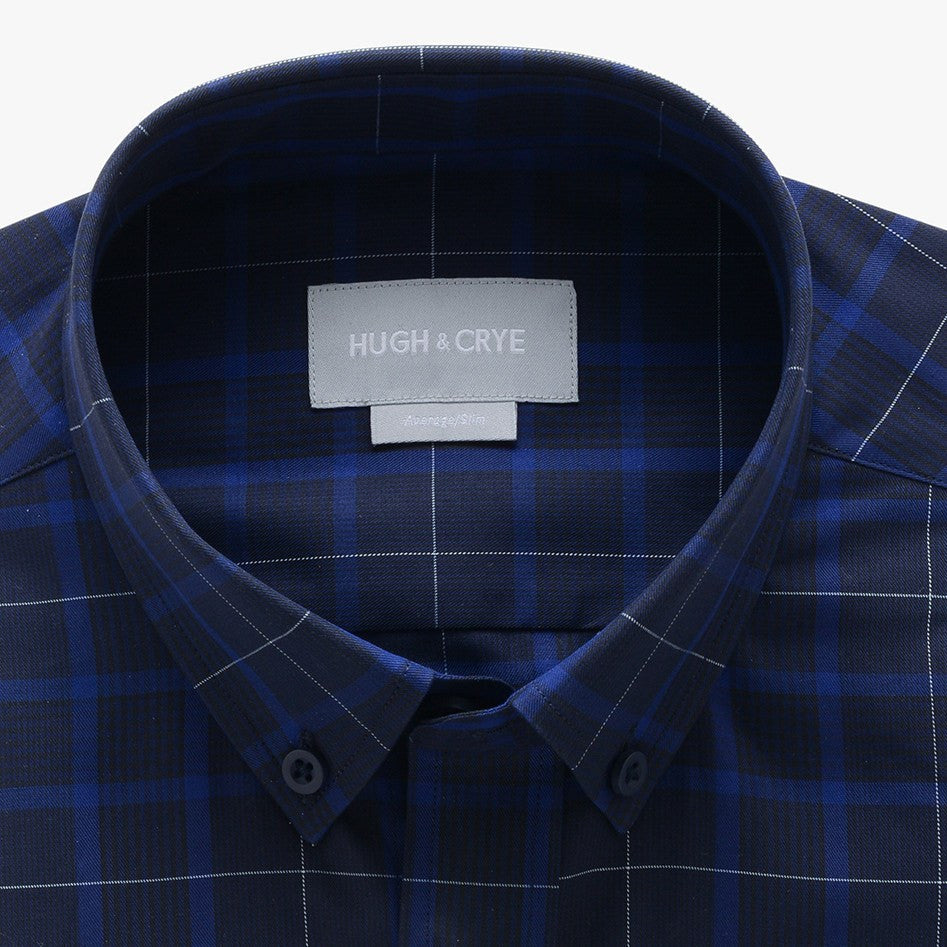 casual point collar shirt in blue, black glen plaid - meridian hill - detail