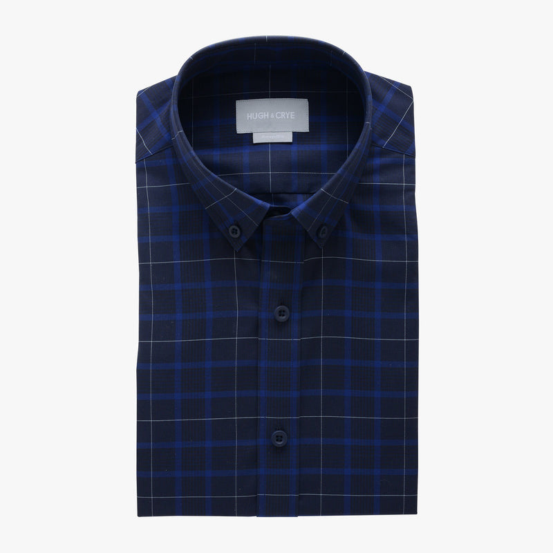 casual point collar shirt in blue, black glen plaid - meridian hill - flat