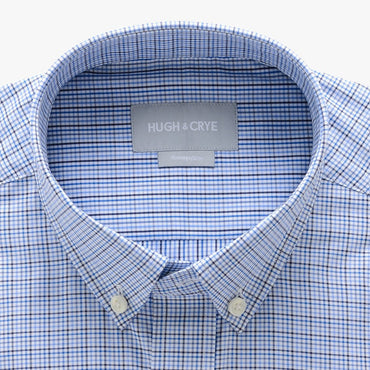 small button down collar shirt in blue plaid check egyptian cotton - arboretum - detail