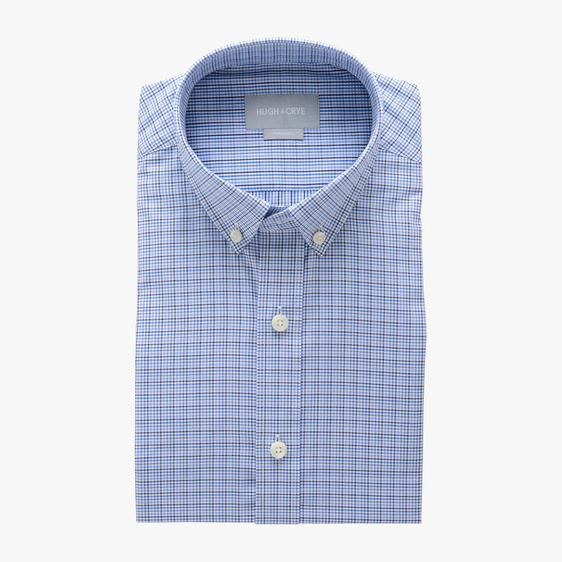small button down collar shirt in blue plaid check egyptian cotton - arboretum - flat