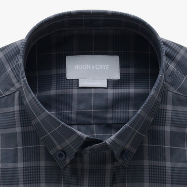 casual point collar shirt in gray, black glen plaid - meridian hill - detail