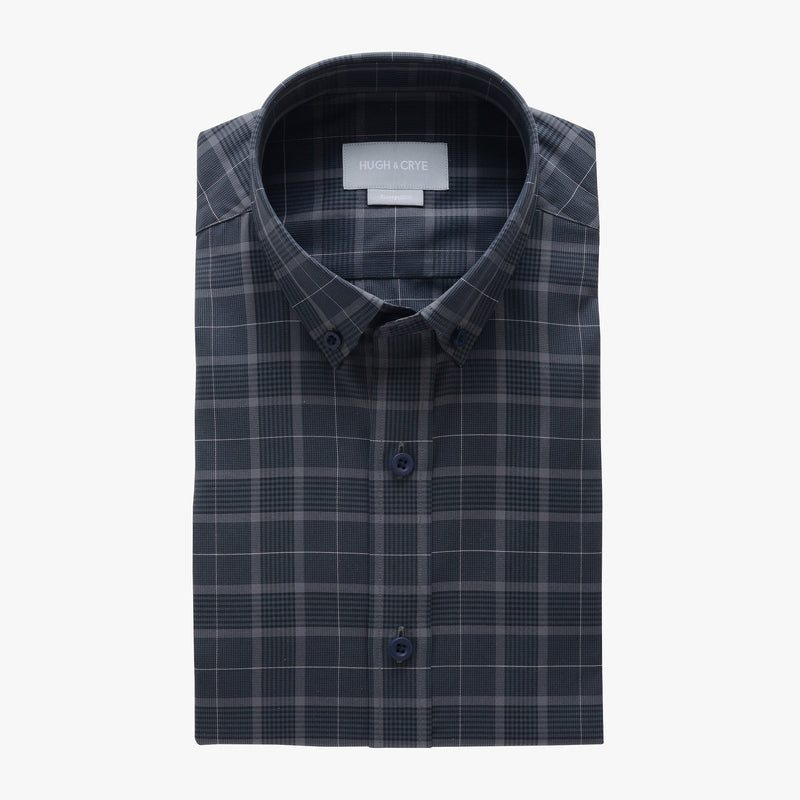 casual point collar shirt in gray, black glen plaid - meridian hill - flat