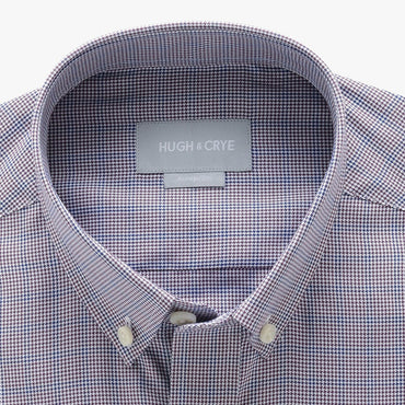 small button down collar shirt in green houndstooth glen plaid - tudor place - detail