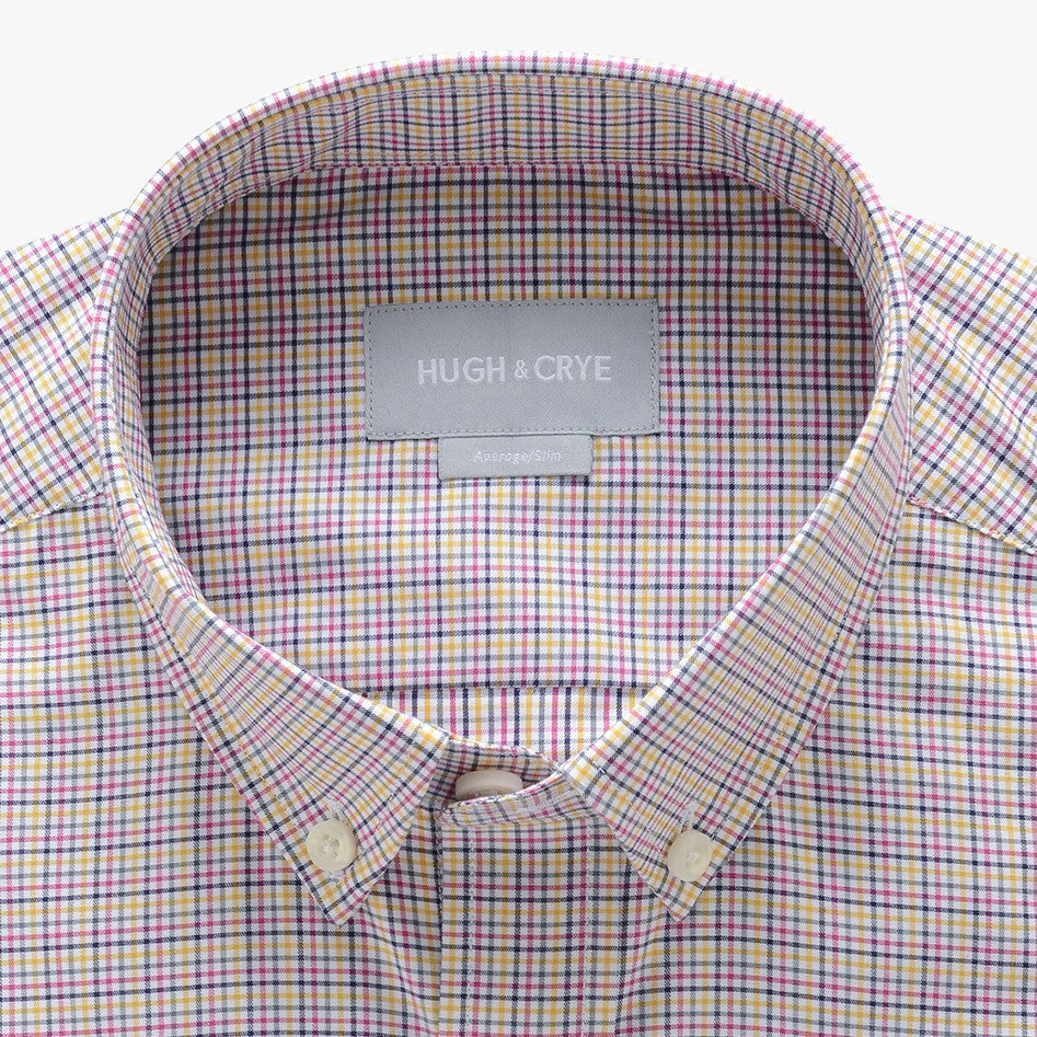 small button down collar shirt in pink plaid check egyptian cotton - arboretum - detail