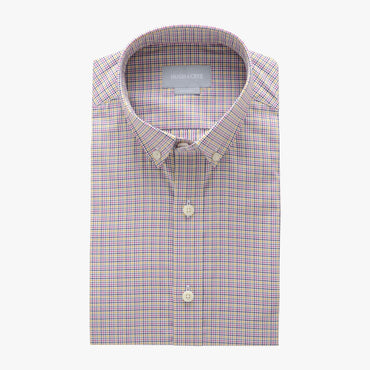 small button down collar shirt in pink plaid check egyptian cotton - arboretum - flat