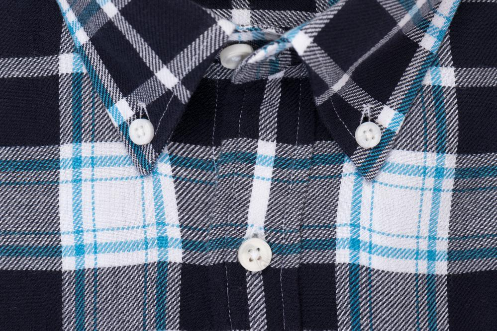 Indigo White Plaid - Medium Weight Field Shirt Collar