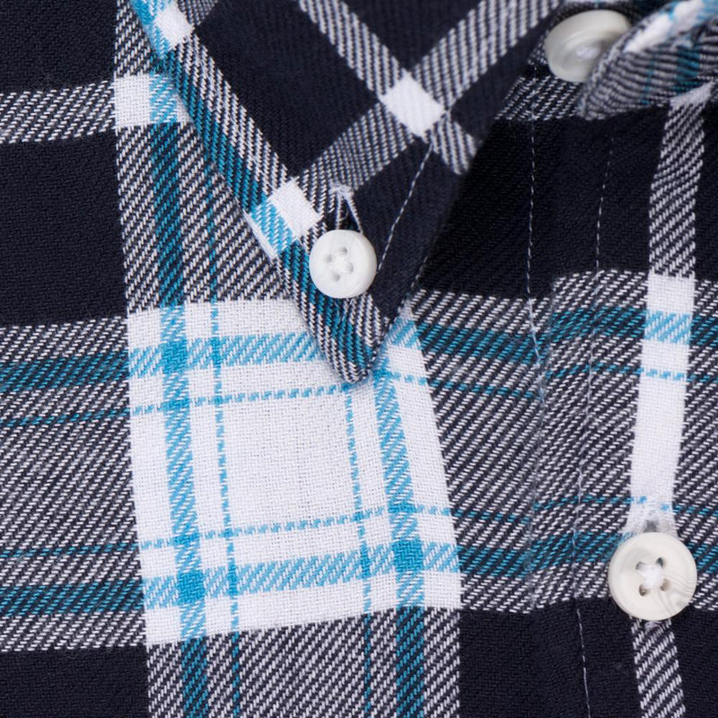 Indigo White Plaid - Medium Weight Field Shirt Fabric